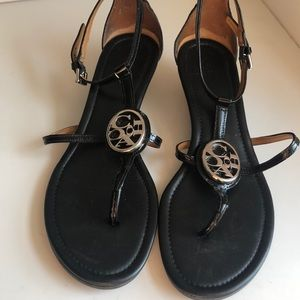 Coach Size 8 Black Strappy Sandals wedge heel